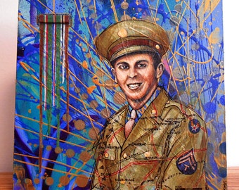 Original Art: Through the Causeway 1. A painting of an Army Airforce veteran with ribbon bar. Not a print, hand painted.