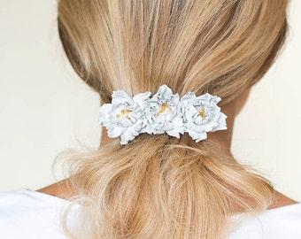 Leather flowers barrette, flower hair barrette, white barrette, french barrette, wedding barrette, white hair clip, Hair Accessories,