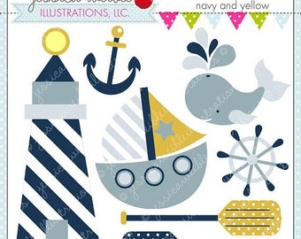 SALE A Nautical Tale - Navy and Yellow - Cute Digital Clipart for Commercial and Personal Use, Nautical Sailing Clipart