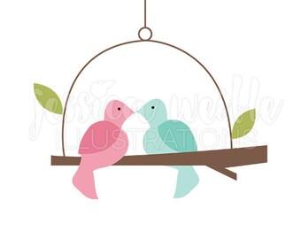 Love Bird Swing Cute Digital Clipart, Cute Bird Clip art, Bird Branch Graphics, Bird on Branch Swing Illustration, #260