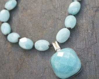 Amazonite Knotted Leather Necklace & Earring Set / Sundance Inspired / Gift for Her