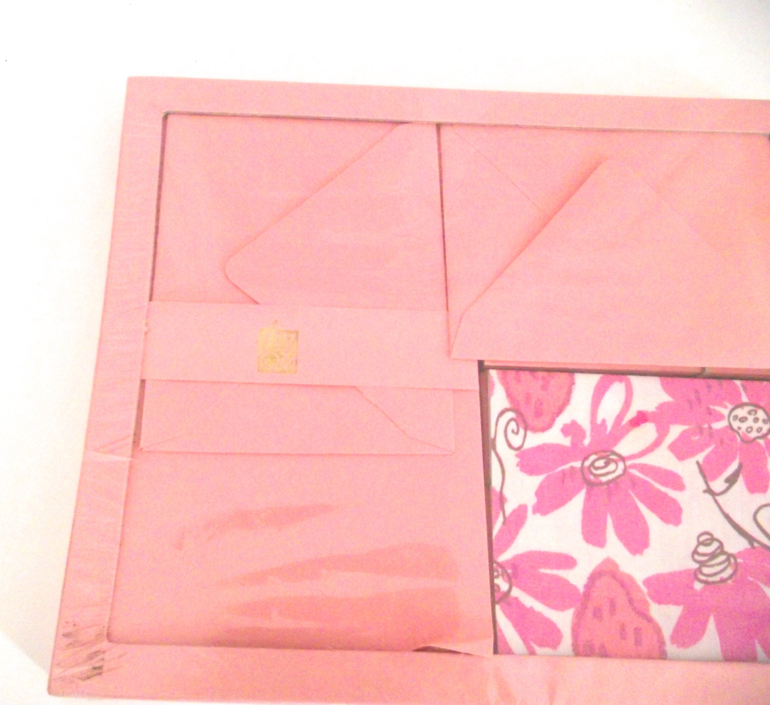 Unused Vintage Stationery Set Nos Pink And Flowered Boxed Writing