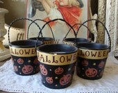 Vintage Halloween bucket candles orange vintage home table decor container candles in decorative containers
