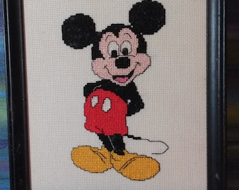 MICKEY MOUSE Cross Stitch in Black Frame