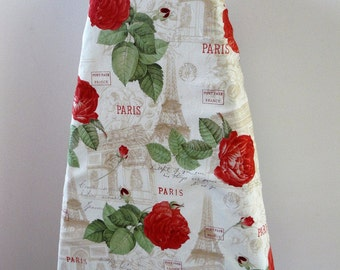 Ironing Board Cover - shabby sheek red roses Paris Eifle Tower France