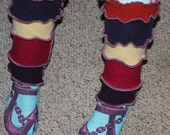 Fun, Funky, Quirky Hand Crafted Leg Warmers made from Recycled Repurposed Sweaters