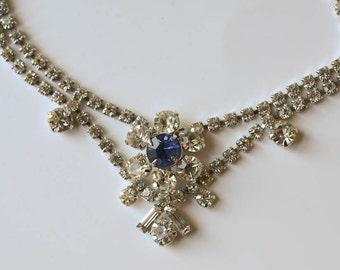 Sapphire Rhinestone Necklace Vintage Valentine Gift