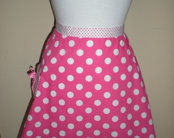 Vintage inspired half apron  pink white polka dot strap and pocket
