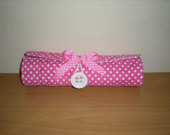 Handmade Brush roll with zip pocket pink white polka dots holds 11 brushes and more suits 6 and 8 inch brushes machine washable Accessory