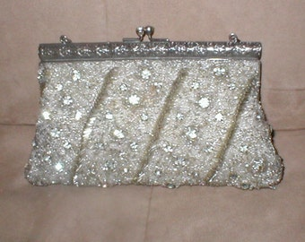 Vintage SILVER Beaded Evening Bag Purse by Walborg