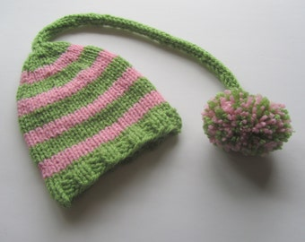 Pink and Green Striped Newborn Knit Baby Hat, Baby Stocking Cap, Baby Elf Hat, Striped Baby Hat, Baby Hat, Newborn Baby Hat, Baby Shower