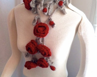 Hand Knit Roses Are Red Garland Scarf