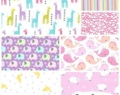 Baby Girl Coordinates FQ Flannel Fabric Bundle Michael Miller - Contains 7 Fat Quarters