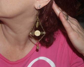 Gold-tone dangle earrings w/ gold-tone chain, riverstone and glass beads.