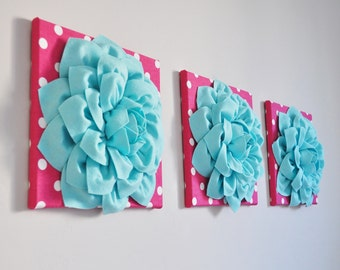 Aqua Home Decor Aqua Nursery Wall Flower Decor Flower Art Canvas Art Nursery Wall Room Decor