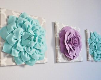 "Floral Wall Decor Set of Three -Aqua Dahlias and Lilac Rose on Neutral Tarika Print 12 x12"" Canvas Wall Art- Flower Nursery Decor Set"