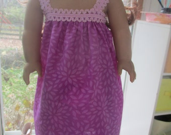 American Girl Doll Clothes, purple and pink nightgown for 18 inch doll