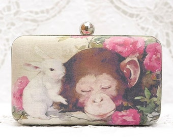 Monkey & Rabbit Box Clutch Year of Monkey Sweet Pals Roses Flowers Hand Dyed Beige Linen Shoulder Bag Girls Birthday Gift Wedding Minaudiere