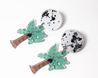 Miami Vice Palm Tree Dangle Acrylic Earrings