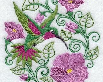 Embroidered Hummingbird Paradise Design on Cotton Terry Bath Towel Set.