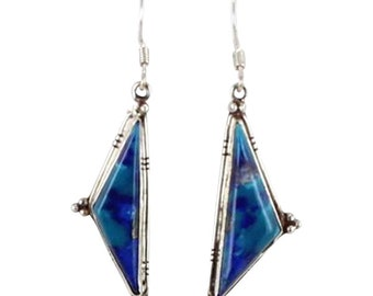 Azurite Sterling Earrings #4