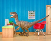 Velociraptor dinosaur diorama desk, office, and cubicle art: Fast Forwards