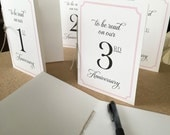 NEW - 5X7 Table Card Message Booklets -  Advice & Wishes to be read on your Anniversary - Custom ink / card stock colors Available