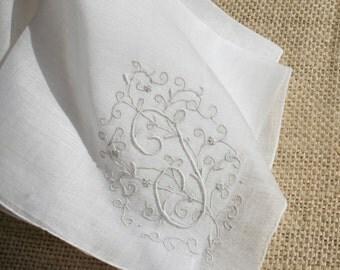 Vintage Hankie Monogrammed Wedding Handkerchief T White