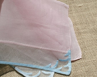Vintage Pink Tulle and Linen Hankie Handkerchief
