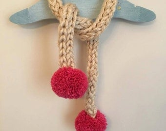 Cream chunky knit pom pom scarf