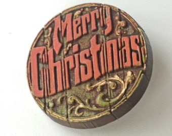Vintage Hallmark Christmas Pin Round Wood Texture Merry Christmas