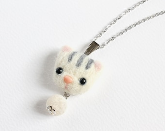 Needle Felted White Tabby Cat Necklace or Brooch or Ring or Shawl Pin