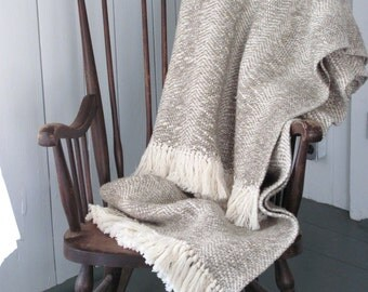 Rustic French Country Cottage Farmhouse Decor Throw Blanket, Mountain Cabin Coastal Beach Decor Gray Beige Artisan Hand Woven Cotton Blanket