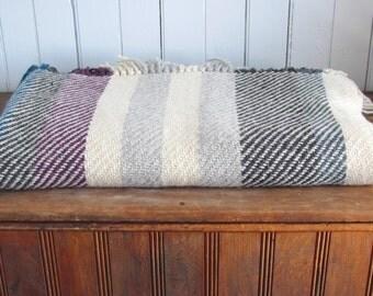 Modern Rustic Mountain Cabin Farmhouse Decor Artisan Hand Woven Wool Throw Blanket, French Country Home Decor Couch Blanket, Wool Bed Throw