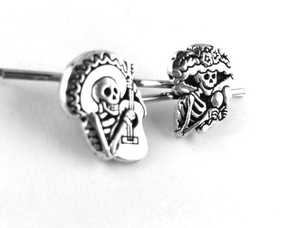 Skeleton Hair Clips - Dia De Los Muertos Gift - Gothic Hair Accessories Sugar Skull Gift Day of the Dead Costume Adult Halloween Hair Clip