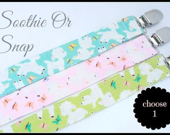 Fluffy Lambs Soothie Pacifier Clip- You Choose One- Pacifier Clip Holder, Soothie Clip, Gumdrop, Advent, Pink, Green, Blue, Lambs, Sheep