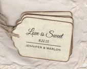 50 Wedding Favor Love Is Sweet Gift Tags, Place Card Escort Tags, Honey Jam Jar Candy Smores Cookies Labels Tags - Vintage Style