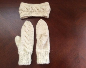 Cabled Mittens and Matching Headband
