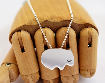 Wombat Sterling Silver necklace pendant Australian animal