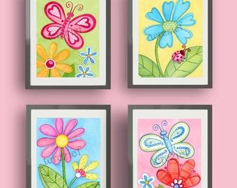 flower art prints, garden daisy art, girls nursery art,  flower wall art decor, matted set, garden daisy bedding art