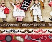 Buon Appetito Chef Stripe - Elizabeth Studios - 1 yard - More Available - BTY