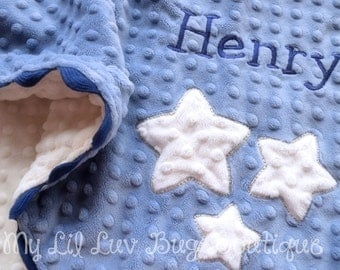 Large personalized minky baby blanket- denim, navy and ivory stars- stroller blanket with name