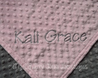 Personalized Baby Blanket CHOOSE YOUR COLORS- blush pink and charcoal grey- baby stroller blanket