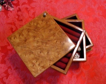 January Sale - Vintage Mele Elm Briar Wood Swivel Jewelry Box, with Three Tiers and Eight Pairs of Earrings, by EyeCandyandMore on Etsy