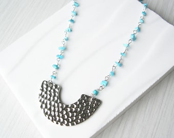 Turquoise Bib Necklace - Modern Jewelry, Hammered Silver, Trendy, Crescent, Simple, Metal, Semiprecious Stone, Blue, Beaded Chain
