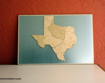 Regions of Texas Map Puzzle - Birch Plywood