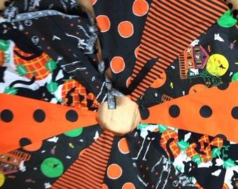 "Halloween Tree Skirt Reversible Patchwork 45"" Diameter Handmade Vintage Fabrics"