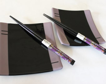 SUSHI PLATES PAIR-Purple Black Sushi Dishes, Japanese Dishes, Wedding Anniversary Gift, Purple Black Dish, Square Plates, Catchall Tray