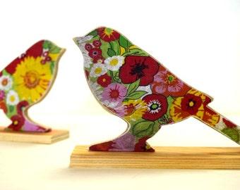 Bird Lightweight Bookends - Wood Bookends, Wooden Book ends, Book Shelf, Decoration, Retro flowers, Bird Collectors, 70's flower Power