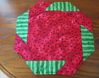 Quilted Placemat, Watermelon, Summer